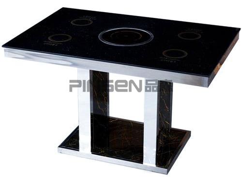 4人一人一锅隐藏式玻璃电磁炉火锅桌