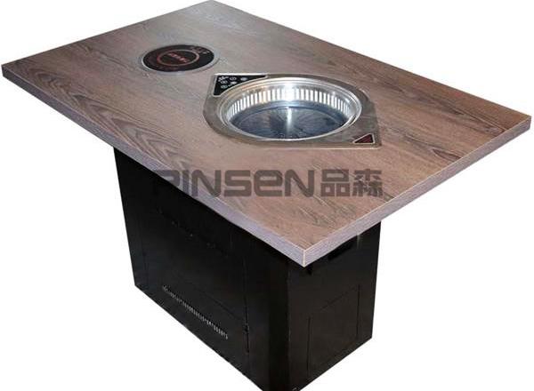 实木商用自助电磁炉火锅烤肉一体桌