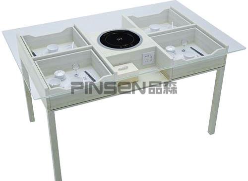 隐藏式玻璃电磁炉火锅店火锅桌带收纳柜