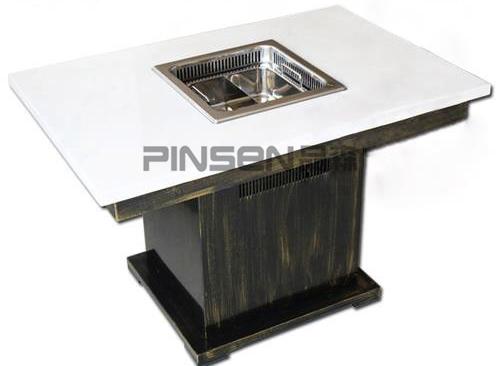 白色大理石四人六人沉降式自净化长方形无烟火锅餐桌