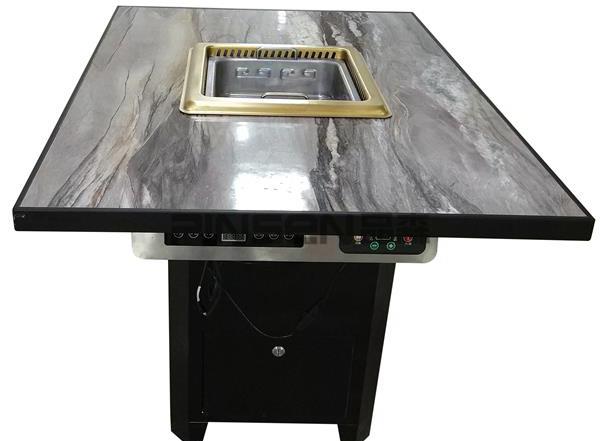 沉降式黑色大理石四人六人自净化长方形无烟火锅餐桌