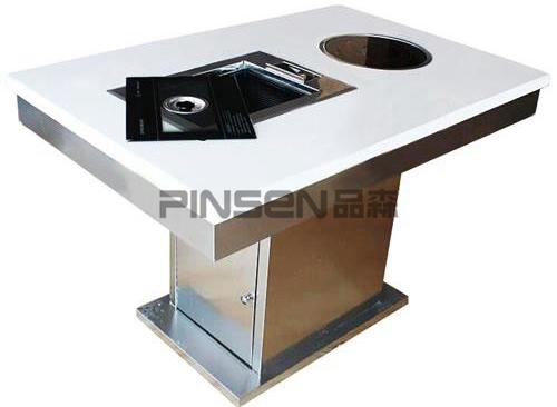 白色大理石电磁炉火锅烧烤一体桌