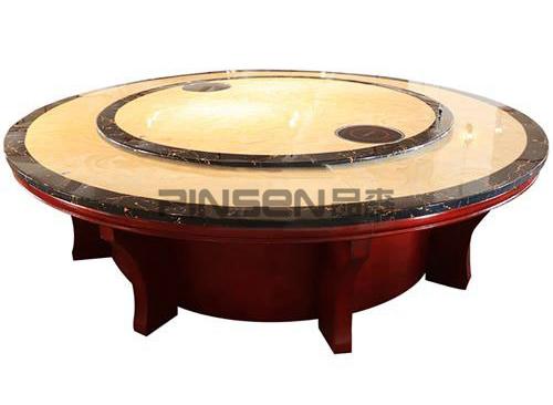 16人大理石电磁炉电动火锅桌