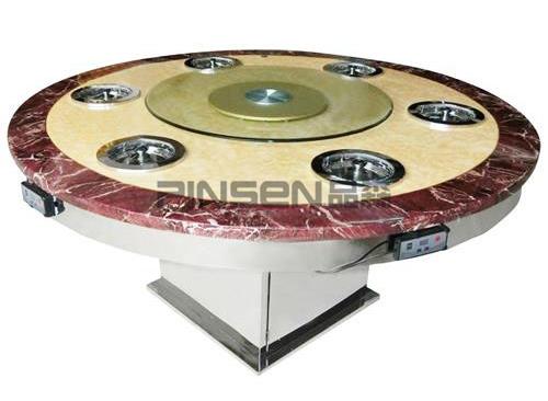 下沉式玻璃转盘分锅式圆形大理石火锅餐桌