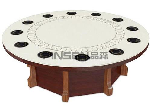 12人一人一锅大理石电磁炉火锅大圆桌