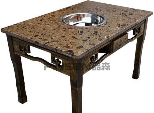 沉降式中式四人正方形黑色大理石火锅餐桌