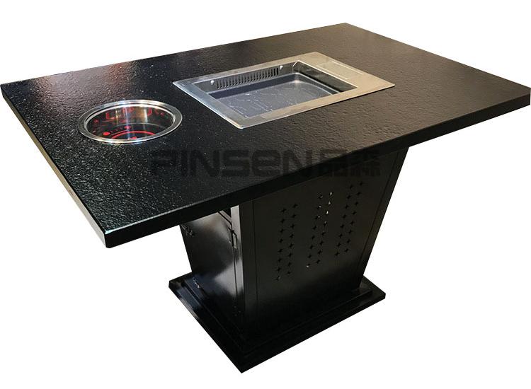 火烧石自净化电磁炉无烟烤涮一体桌