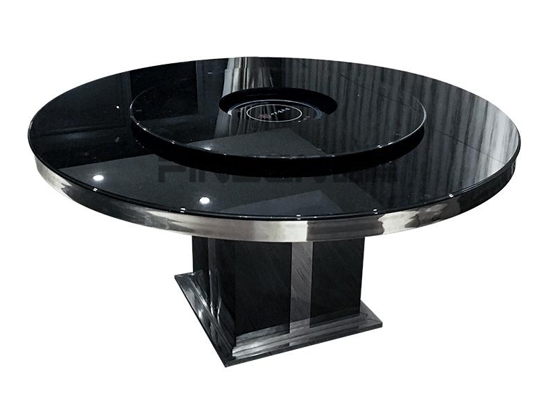 黑色大理石转盘圆形电磁炉火锅桌