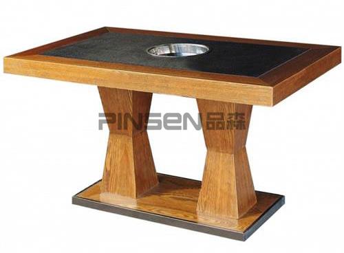 实木包边火烧石下沉式火锅桌