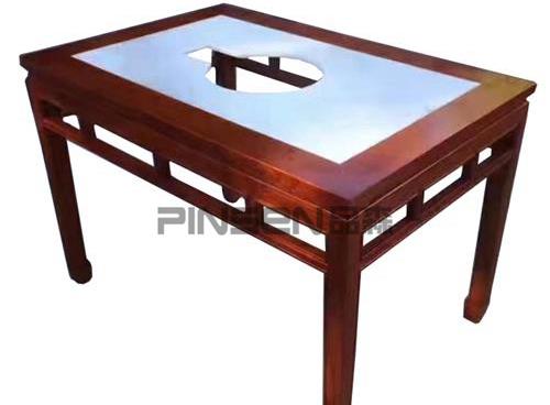 中式实木包边大理石火锅桌