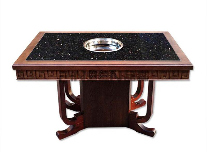 中式实木仿古雕花包边下沉式大理石火锅桌