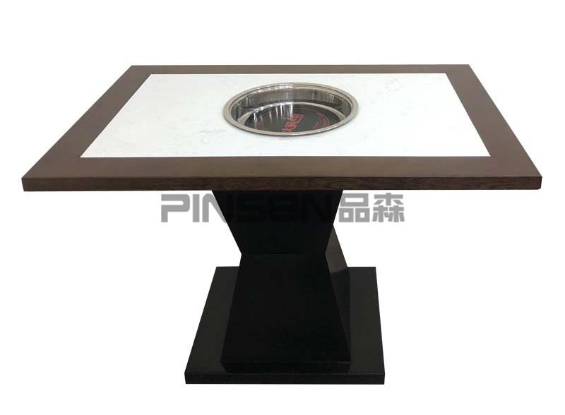 新中式实木包边下沉式大理石电磁炉火锅桌