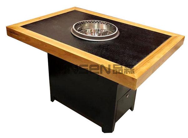 实木包边火烧石自吸式无烟火锅桌