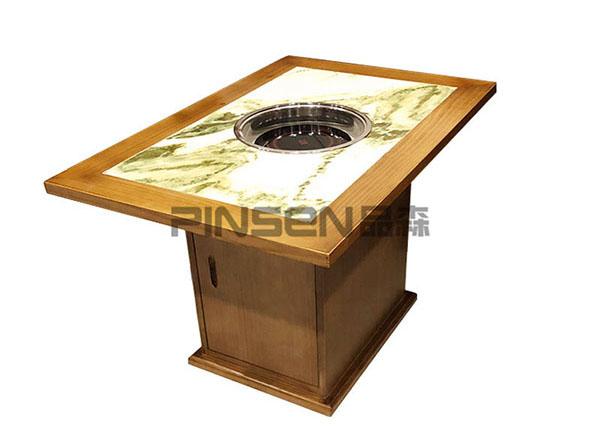 新中式实木包边印花大理石下沉式电磁炉火锅桌