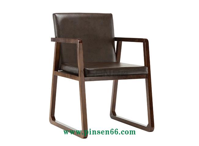 实木软包框脚Y字扶手椅