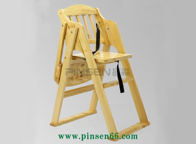 实木简约折叠儿童BB餐椅