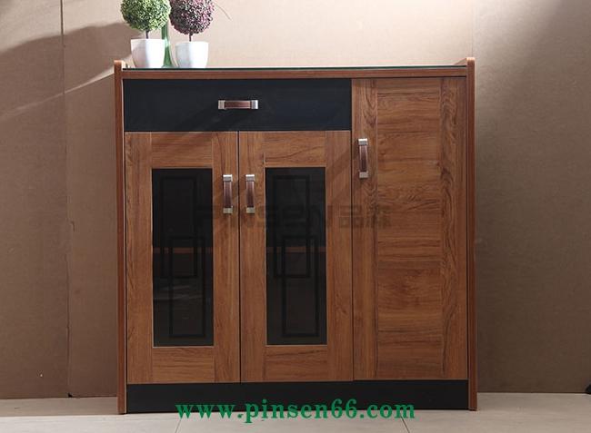 实木玻璃窗带抽屉备餐柜
