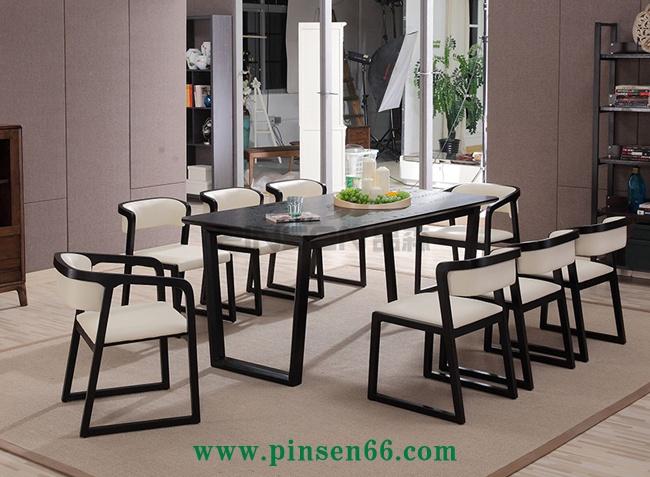 欧式框脚实木软包西餐厅桌椅
