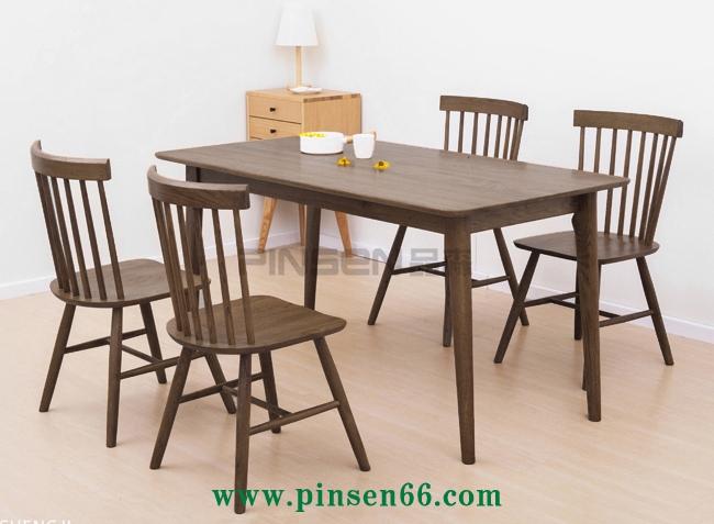 原木色简约实木西餐厅桌椅组合