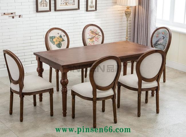 欧式复古软包实木西餐厅桌椅组合