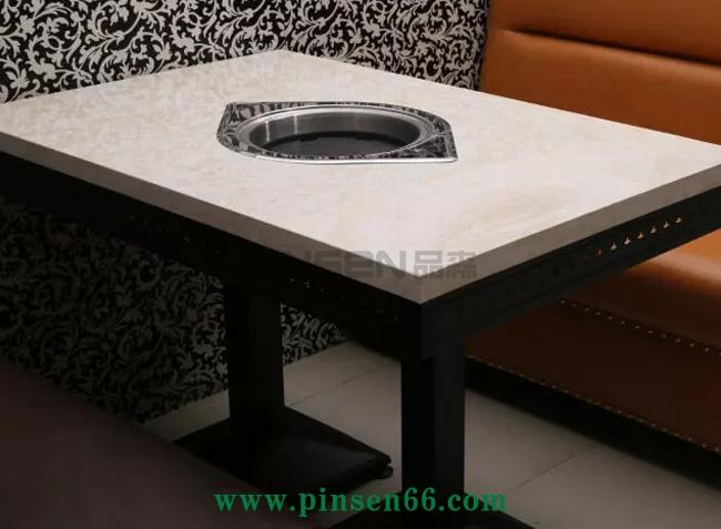 白色大理石四人六人下沉式长方形电磁炉火锅餐桌
