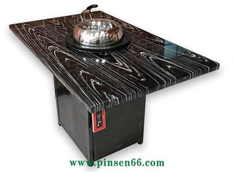 黑色大理石蒸汽火锅餐桌