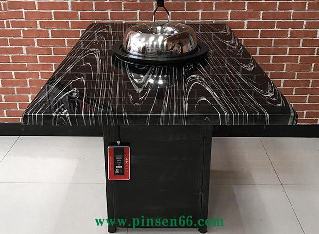 黑色印花大理石四人六人长方形蒸汽火锅餐桌