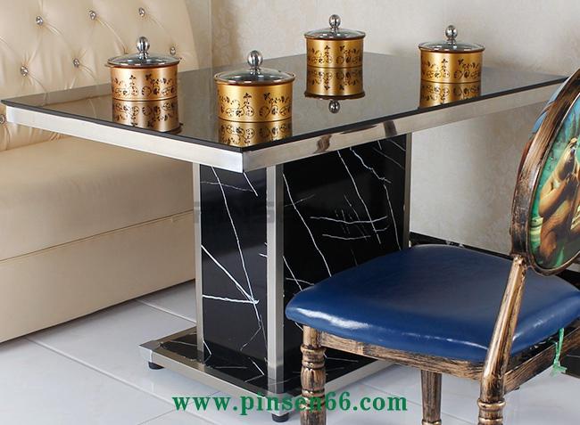 钢化玻璃一人一锅火锅桌椅卡座组合