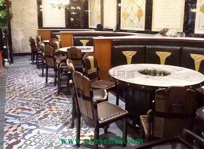 下沉式大理石火锅圆餐桌椅子卡座组合