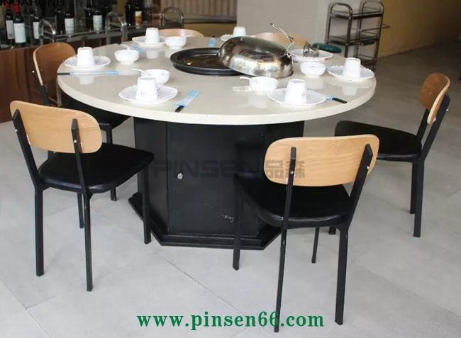 大理石海鲜蒸汽火锅圆桌椅子组合