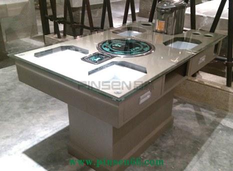 多功能铁艺餐桌定做厂家 带抽屉的玻璃火锅桌