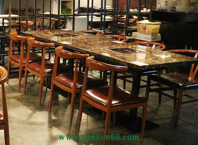 4人大理石电磁炉火锅桌椅