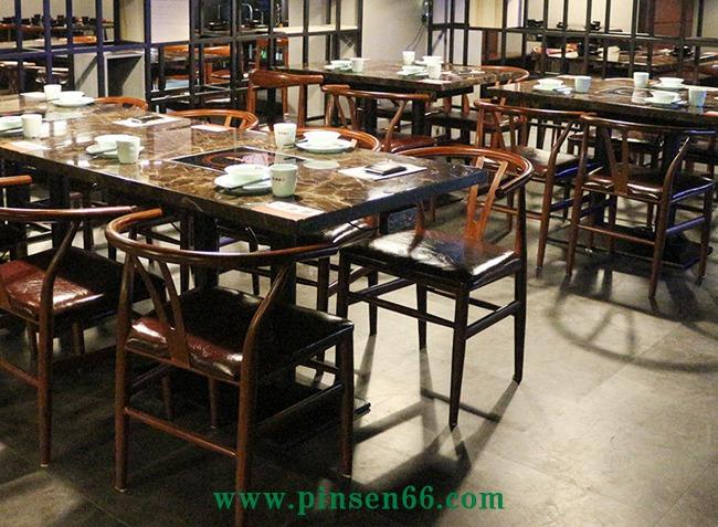 4人大理石电磁炉火锅餐桌椅组合
