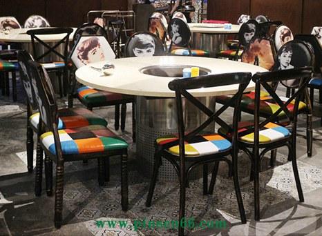 个性不锈钢大理石无烟火锅桌椅组合