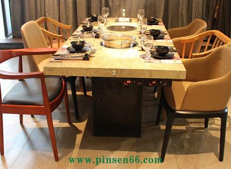 不锈钢大理石电磁炉6人火锅桌椅组合