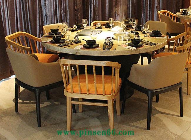 不锈钢大理石电磁炉火锅圆桌椅子组合