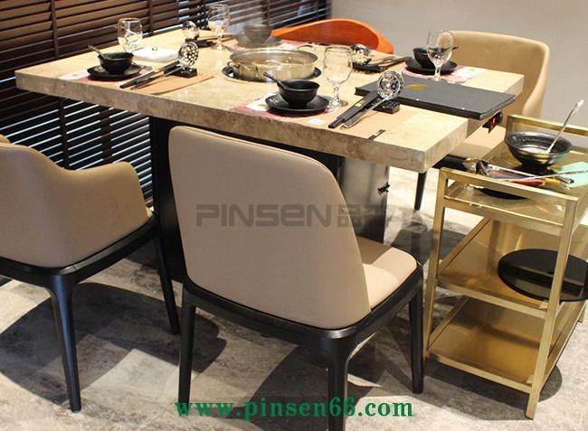 不锈钢大理石电磁炉4人火锅桌椅组合