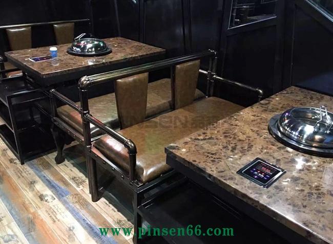 领海海鲜蒸汽火锅桌椅卡座组合