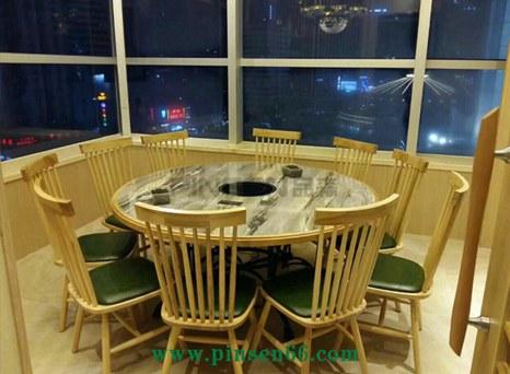 实木包边大理石电磁炉火锅桌椅组合