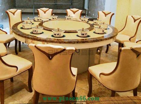 酒店宴会桌 实木餐桌电磁炉饭桌 大理石电动宴会桌 电动小户型餐桌餐椅组合