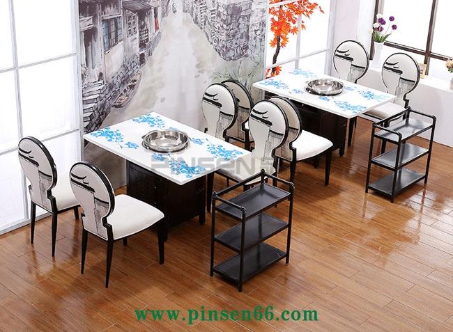 新中式典雅4人大理石电磁炉火锅桌椅菜架组合