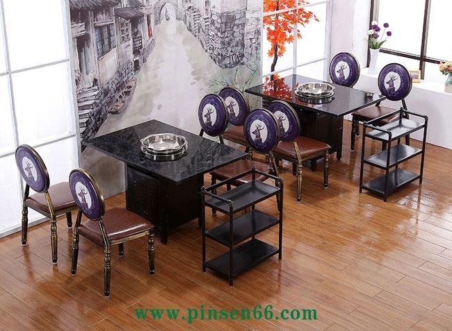 西式典雅大理石电磁炉火锅桌椅菜架组合