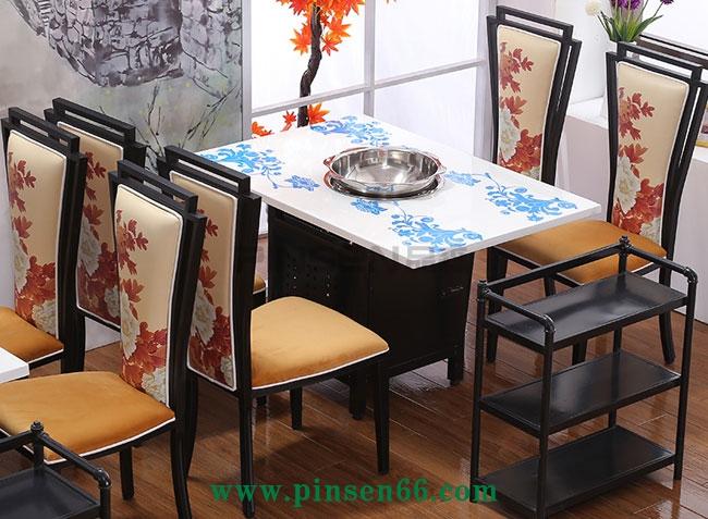 新中式大理石电磁炉火锅桌椅菜架组合