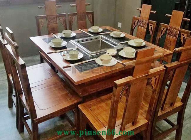 无烟火锅桌智能无烟净化火锅桌大理石桌面实木火锅桌椅组合