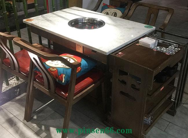 4人下沉式大理石电磁炉火锅桌椅菜架组合