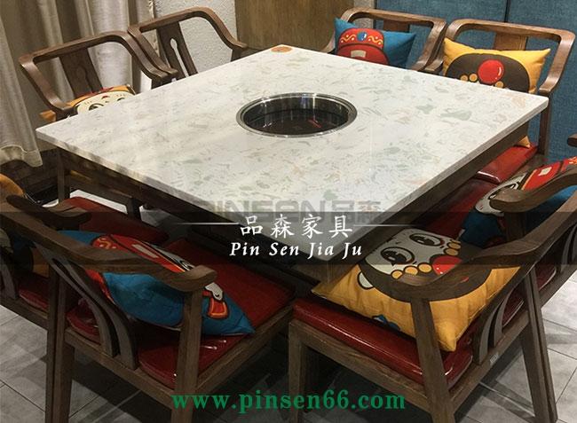 8人下沉式大理石电磁炉火锅正方桌椅子菜架组合