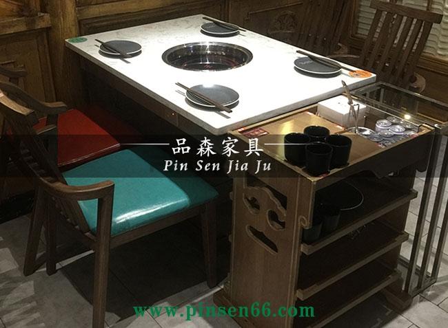 大理石电磁炉火锅桌椅菜架组合