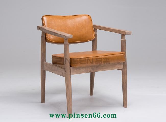 实木复古做旧靠背椅 欧式扶手咖啡厅餐桌椅 北欧休闲椅定制厂家
