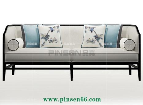 丽维拉新中式沙发 简约现代中式创意布艺印花沙发 高背沙发椅