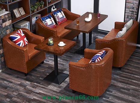 厂家直销 卡座沙发 咖啡厅沙发桌椅组合 美式复古西餐厅双人沙发